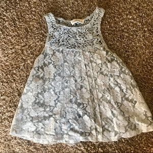 Grey lace flowy tank with open back